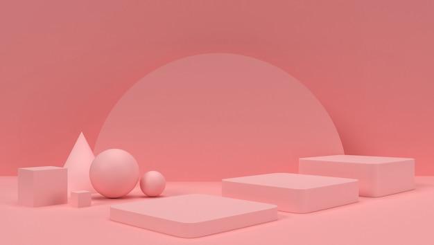 Rappresentazione 3d di geometrico astratto, scena, podio, fase ed esposizione. con tono di colore rosa.