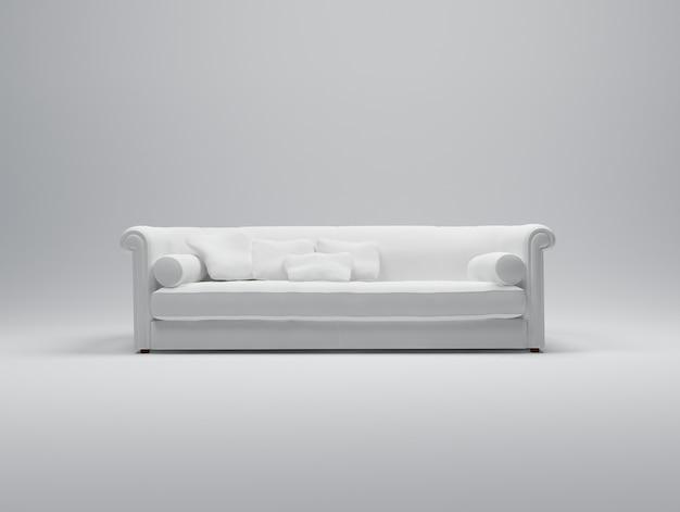 Rappresentazione 3d di un sofà bianco sembrante comodo