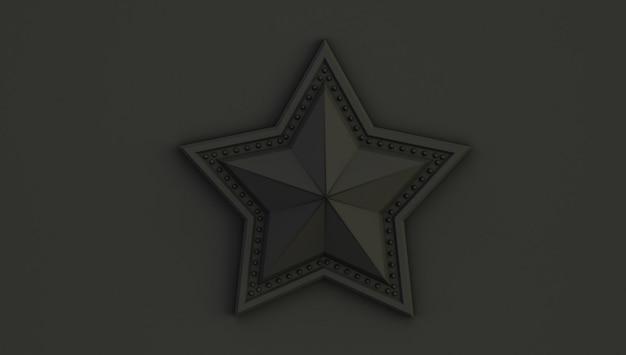 Rappresentazione 3d di una stella isolata su una priorità bassa nera.