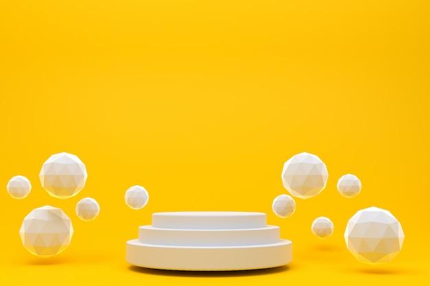Rappresentazione 3d, fondo arancio astratto minimo del podio bianco per la presentazione cosmetica del prodotto, forma geometrica astratta