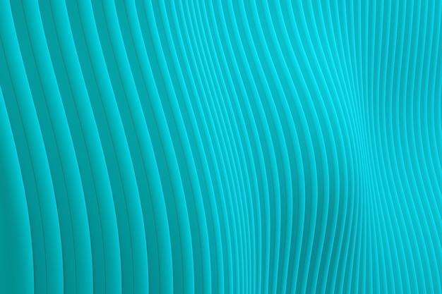 Rappresentazione 3d, fondo astratto di verde del mare di architettura dell'onda della parete