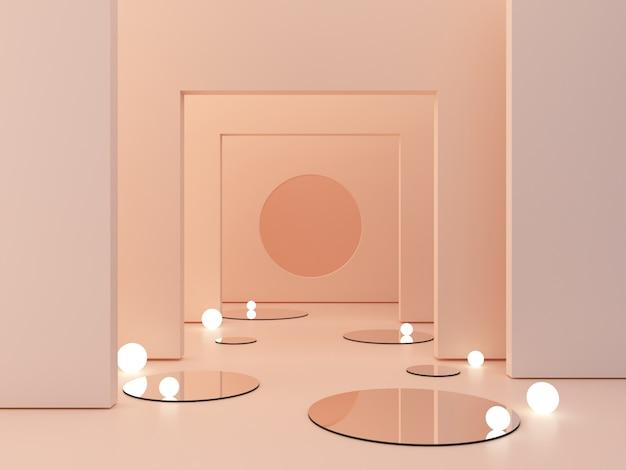 Rappresentazione 3d, fondo cosmetico astratto. mostra un prodotto scena vuota con specchio a cilindro e luci sferiche nel pavimento.