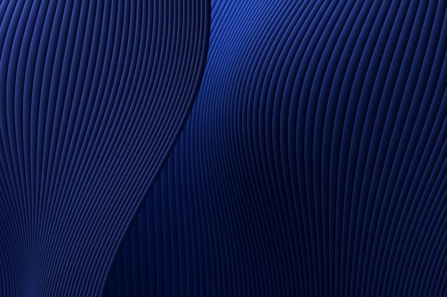 Rappresentazione 3d, fondo di lusso blu di architettura astratta dell'onda della parete