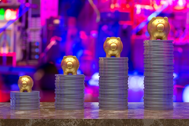Rappresentazione 3d, moneta con un oro di porcellino, risparmio che cresce per l'affare e l'idea finanziaria di concetto