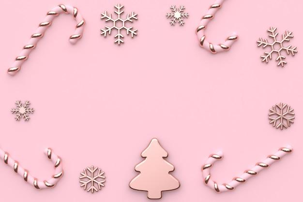 Rappresentazione 3d rosa di natale dell'oro di rosa lucido-metallico metallico