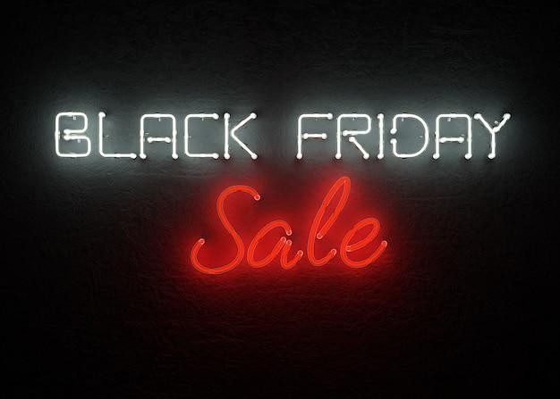 Rappresentazione al neon del fondo 3d di vendita di black friday