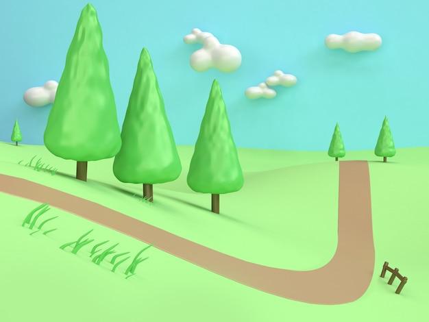 Rappresentazione astratta 3d del paese della montagna della collina del campo verde di stile minimo di arte del fumetto