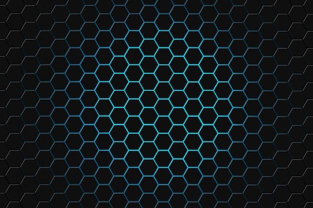 Rappresentazione astratta 3d della superficie futuristica con gli esagoni. sfondo di fantascienza verde scuro.