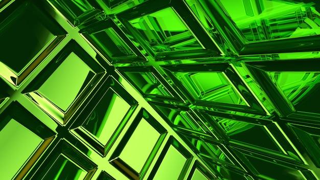 Rappresentazione astratta del fondo 3d di vetro verde