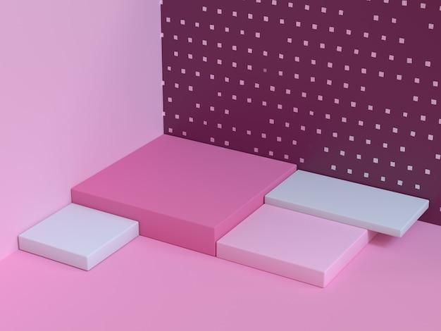 Rappresentazione astratta di scena 3d di angolo rosa del pavimento della parete