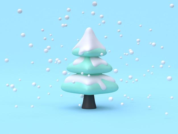 Rappresentazione astratta di stile 3d del fumetto di scena di concetto della natura di inverno dell'albero-pino