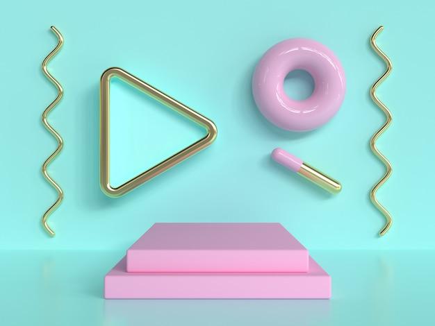 Rappresentazione astratta verde rosa del podio di gradino di rosa di scena 3d