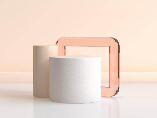 Rappresentazione bianca 3d della struttura di vetro arancio del cilindro