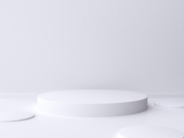 Rappresentazione bianca del pavimento del cilindro dello spazio in bianco della parete 3d