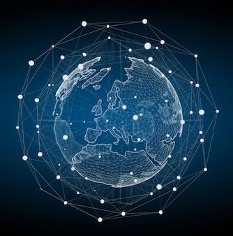 Rappresentazione bianca e blu di galleggiamento della rete 3d del pianeta terra