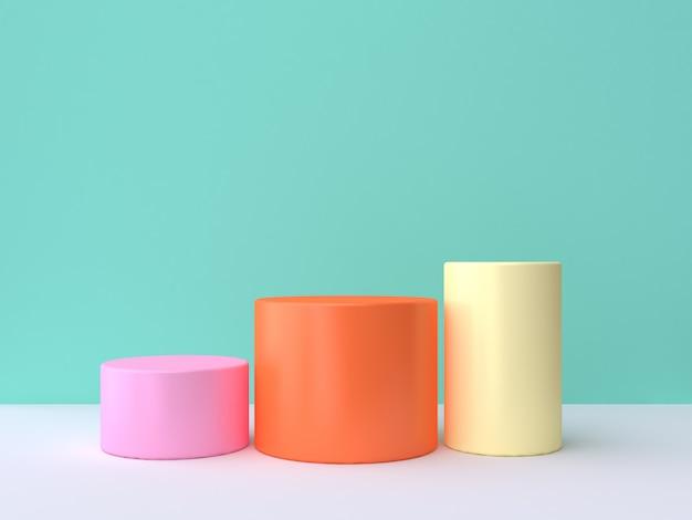 Rappresentazione bianca verde variopinta di scena 3d di tre cilindri di giallo arancio di rosa