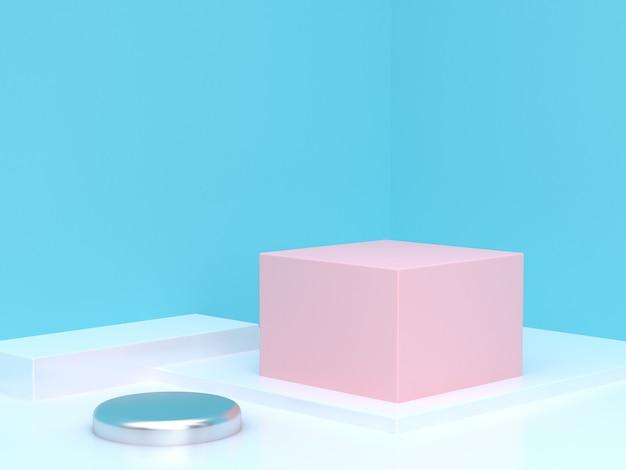 Rappresentazione blu astratta del podio del cubo di scena dell'angolo blu