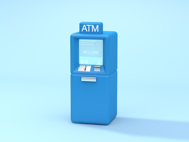 Rappresentazione blu blu molle 3d di bancomat