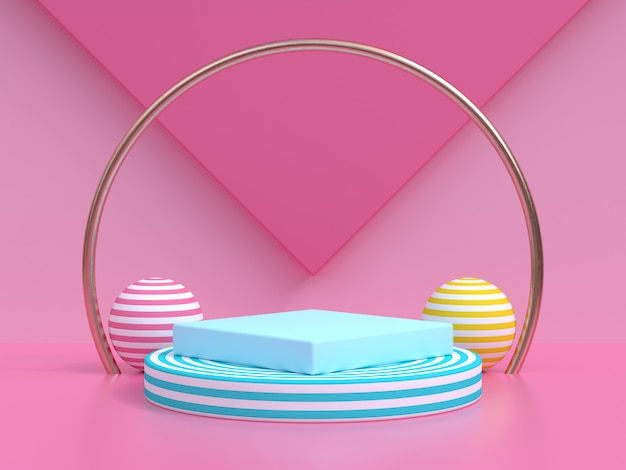 Rappresentazione blu del cerchio 3d dell'oro blu del podio dello spazio in bianco rosa di scena