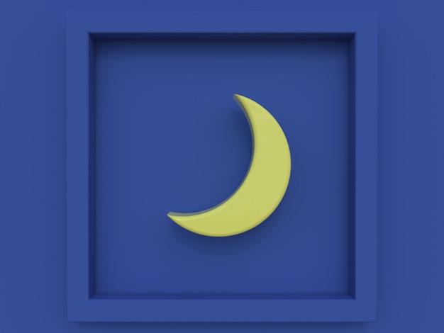 Rappresentazione blu di stile 3d del fumetto della luna gialla di scena