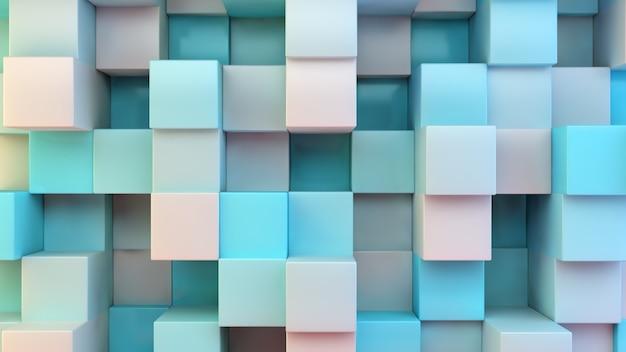 Rappresentazione blu e bianca dei cubi 3d