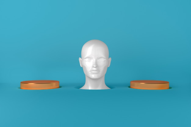 Rappresentazione concettuale della testa femminile bianca femminile fra due cilindri dorati dell'illustrazione delle passerelle 3d