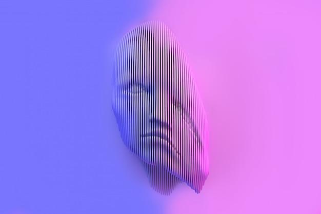 Rappresentazione concettuale di una testa femminile con l'illustrazione schiacciata di problemi 3d