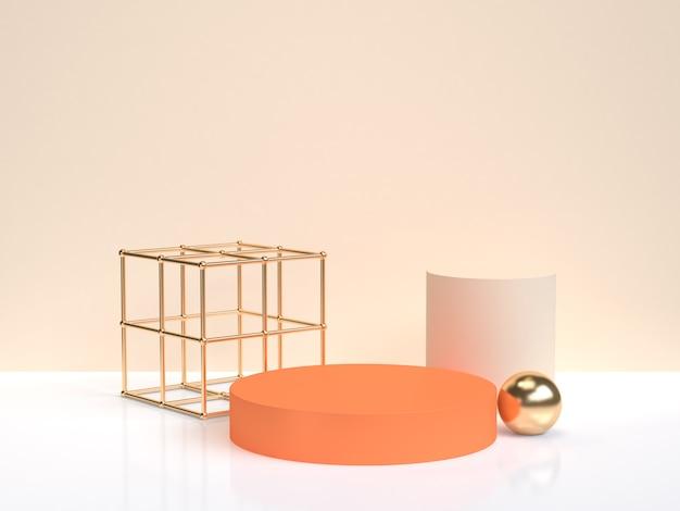 Rappresentazione crema bianca di scena 3d della forma geometrica dell'oro astratto minimo di oro