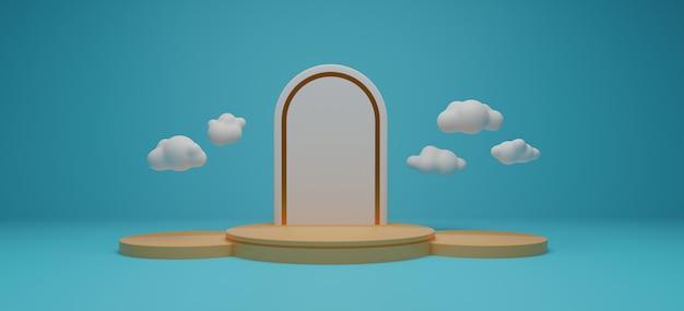 Rappresentazione del banco di mostra del prodotto e della nuvola 3d.