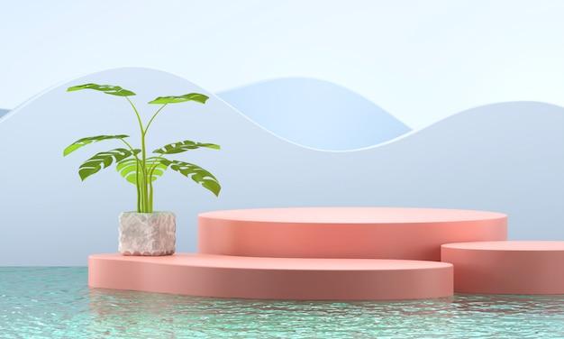 Rappresentazione del banco di mostra del prodotto e della pianta 3d dell'albero