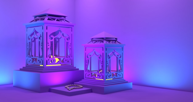 Rappresentazione del fondo 3d della lanterna del ramadan