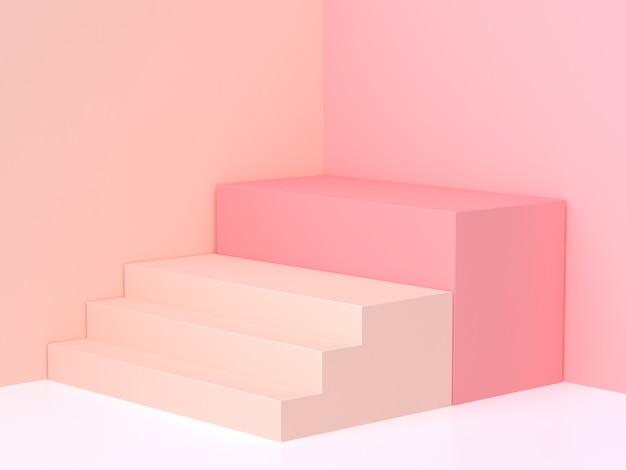 Rappresentazione del podio 3d della scala d'angolo della parete rosa crema