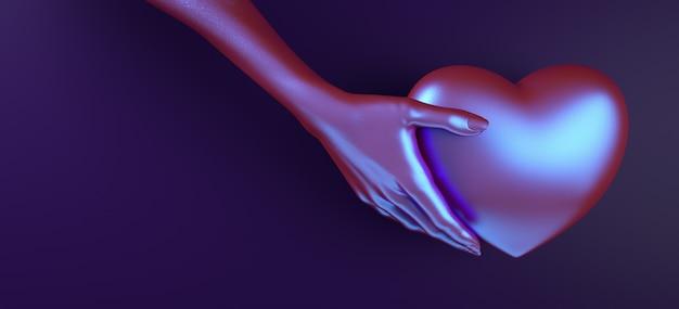 Rappresentazione dell'illustrazione del modello 3d del fondo del cuore della tenuta della mano di giorno di biglietti di s. valentino. colore piatto rosso brillante. amore biglietto di auguri, poster, modello di banner per la festa