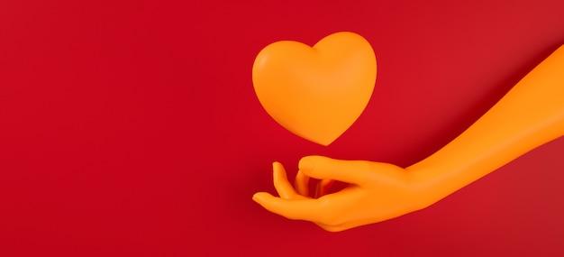 Rappresentazione dell'illustrazione del modello 3d del fondo del cuore di raccolto della mano di giorno di biglietti di s. valentino. colore piatto rosso brillante. amore biglietto di auguri, poster, modello di banner per la festa