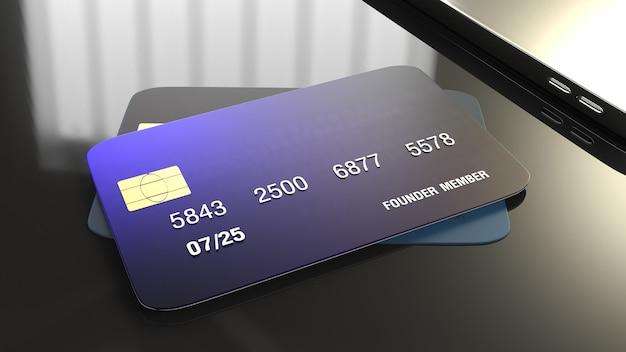 Rappresentazione della carta di credito 3d per il concetto di affari.