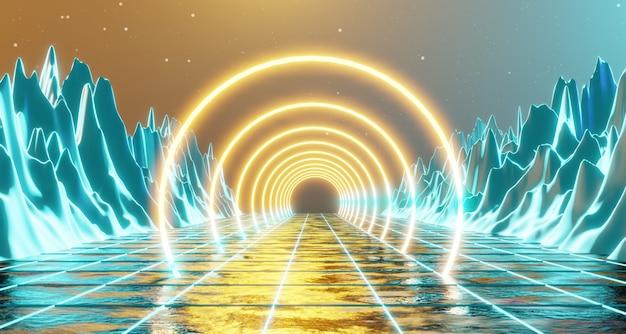Rappresentazione della luce al neon 3d dell'anello di incandescenza di viaggio nello spazio del cielo della stella di illuminazione futuristica della roccia futuristica del paesaggio del pianeta di fantascienza