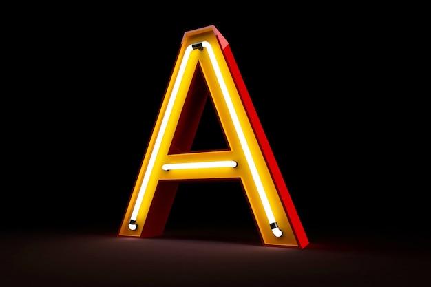 Rappresentazione di alfabeto 3d della luce al neon su fondo nero