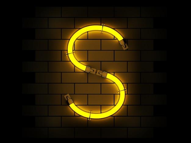 Rappresentazione di alfabeto 3d della luce al neon sul fondo del mattone con il percorso di ritaglio