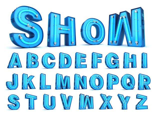Rappresentazione di alfabeto 3d della luce al neon