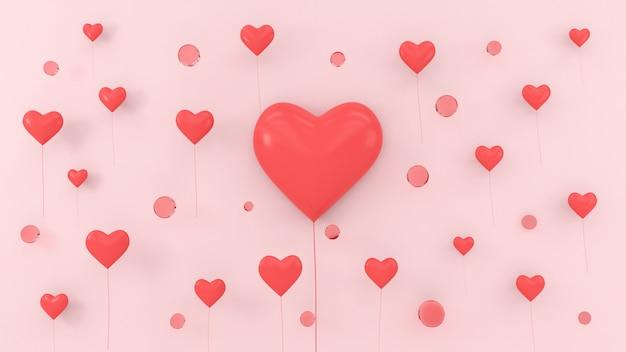 Rappresentazione di concetto 3d di galleggiamento di amore del biglietto di s. valentino di amore del pallone di forma dei cuori