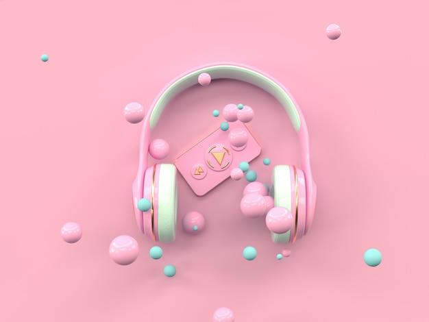 Rappresentazione di concetto 3d di tecnologia di intrattenimento di musica della cuffia dell'oro rosa
