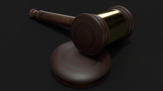 Rappresentazione di legno 3d del martello per la legge.