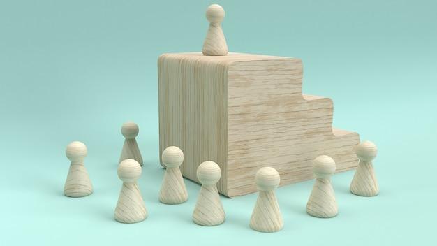 Rappresentazione di legno del giocattolo 3d per il concetto di affari.