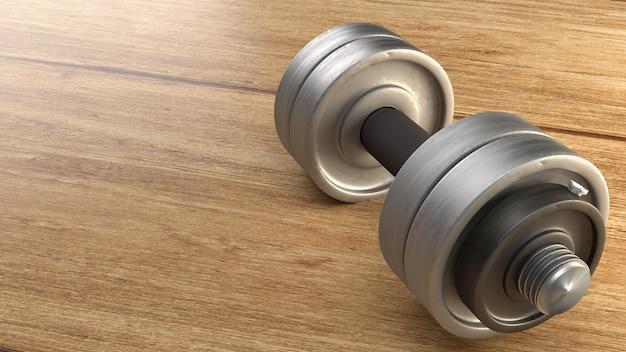 Rappresentazione di legno del pavimento 3d della testa di legno per il contenuto di fitness.