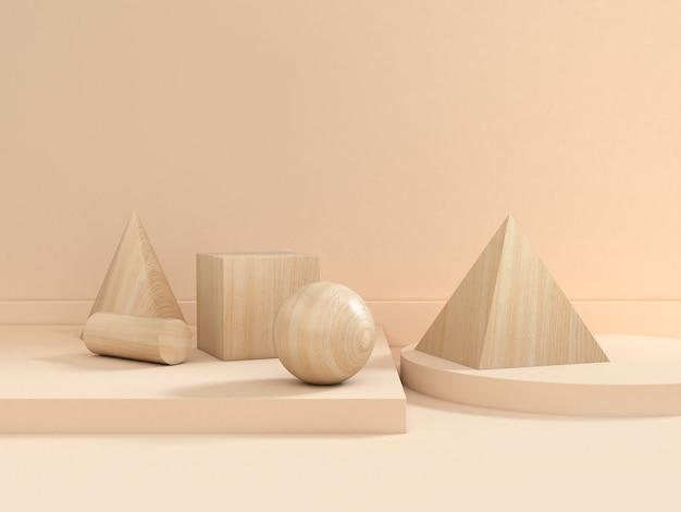 Rappresentazione di legno stabilita 3d di scena di marrone di struttura geometrica del gruppo di forma