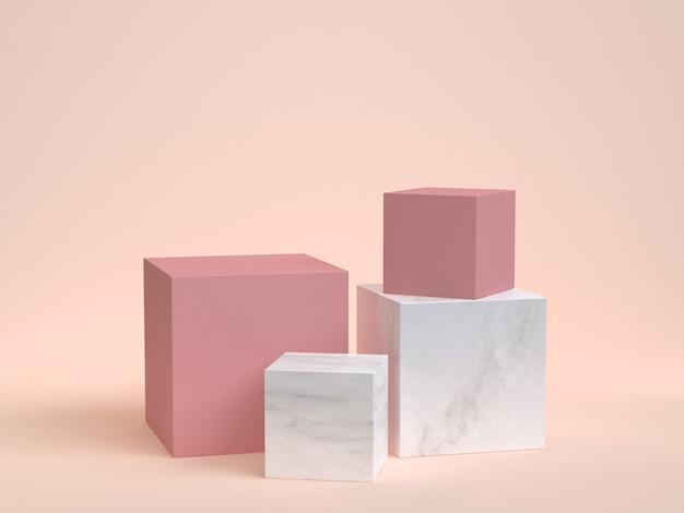Rappresentazione di marmo rosa 3d del podio della scatola di cubo