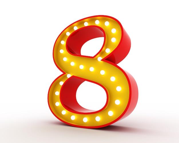Rappresentazione di numero 3d della lampadina di stile di broadway su bianco