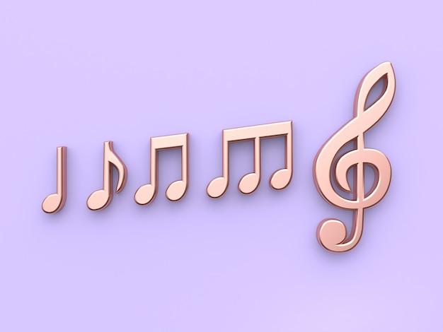 Rappresentazione di rame 3d della nota di musica metallica del fondo viola-porpora minimo