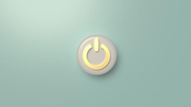 Rappresentazione di simbolo 3d del pulsante di avvio per il fondo.