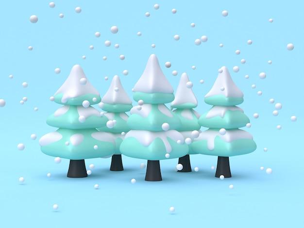 Rappresentazione di stile 3d del fumetto di scena di concetto della natura di inverno della foresta del pino albero astratto